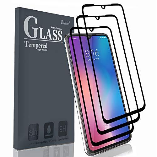 Ferilinso Cristal Templado para Xiaomi Mi 9, [3 paquet][Edición Mejorada] [Pegamento Adhesivo Completo] Cristal Templado de absorción Completa y Cobertura Total con garantía de por Vida(negre)