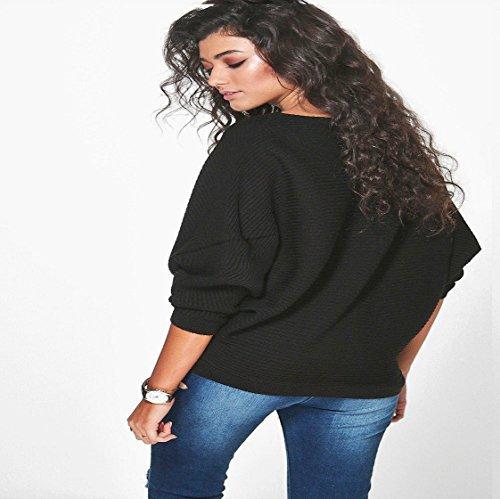 Vovotrade❉❉ Batwing manches manches chauve-souris manches tricoté chandail en laine Pull Pulls Tricots Noir