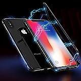 KYUKE Coque iPhone 6/6s Magnétique adsorption Transparente en métal avec Verre...