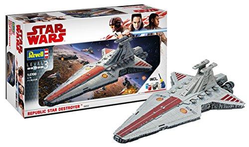 Revell 06053 Modellbausatz, Star Wars 1:2700-Republic Destroyer, Level 3, orginalgetreue Nachbildung mit - Wars Der Raumschiffe Lego Republik Star