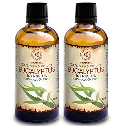 Ätherisches Öl Eukalyptus 200ml - 2x100ml - Eucalyptus Globulus - 100% Naturrein & Reines Ätherische Eukalyptusöl Besten für Sauna - Raumduft - Diffuser - Duftlampe & Luftbefeuchter (Bio-eukalyptus-öl)