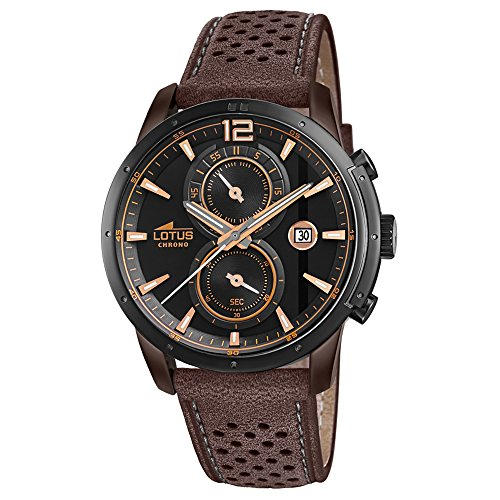 Lotus Herren-Armbanduhr Chronograph Khrono Sport mit Leder-Armband braun Quarz-Uhr UL18368/1