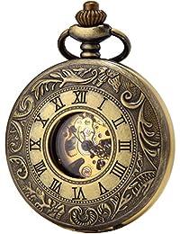 SEWOR Vintage hueca bronce Unisex de aleación de romano reloj de bolsillo doble abierto regalo + Marca de piel caja de regalo