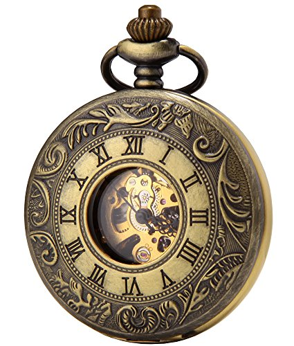 SEWOR Dress Double Open Mechanical Hand Wind Pocket Watch + Band Leather Gift Box (Bronze)
