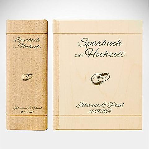 Spardose Buch aus Holz mit Gravur zur Hochzeit - Motiv Ringe – Personalisiert mit Namen und Datum