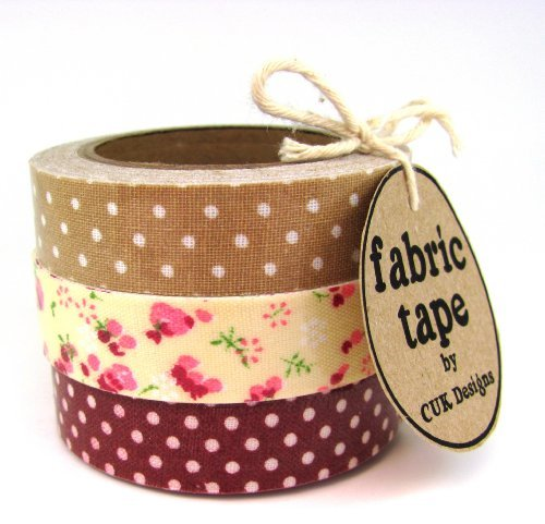 burgundy-taupe-floral-dots-set-of-3-rolls-cotton-fabric-sticky-adhesive-decorative-tape-trim-craft-d
