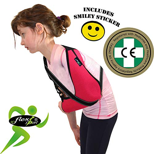 Écharpe D'immobilisation D'épaule De Bras Enfant (FRAMBOISE   6-8 ans)  Poche de bras est grande profonde 'DE LUXE' Conception unique pour prévention de la douleur au cou. Unisexe.