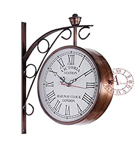 akhandstore retro 8 inch clock dia double side antique wall clock station clock