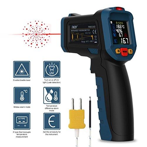 Produktbild Infrarot Thermometer IR Pyrometer berührungslos Laser Digital Thermometer kontaktfreies mit Farbe lcd 12-Punkte-Laserkreis mit K-Typ Thermoelement für Kochen / Luft / Kühlschrank - Fleisch-Thermometer Enthalten Innen Außen Industrie usw -50 bis 800