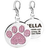 Taglory Hundemarke mit Gravur, Personalisiert Haustier ID Tag für Hunde und Katzen, Strass Pfotenmuster, Adressanhänger mit Clip und Schlüsselring,25mm Pink