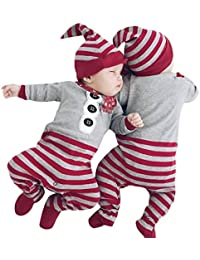 Forthery Baby Boy's Christmas Costume 2Pcs Long Sleeve Christmas Striped Rompers Jumpsuit Hat Set