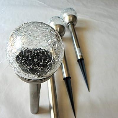 4er Set LED Solar-Lampen Leuchtkugel Ø 8 cm Fuß Edelstahl Gartenleuchten von Gartenpirat®