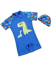 Happy Cherry - Bañador Infantil para chicos de una Pieza con un Gorro de Natación Dinosaurio con Cremallera de Verano de Playa Surf Deportes Acuáticos - 1-10 años