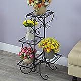 QFF Stile europeo Stile da fiore in ferro Strutture multiple Balcone Soggiorno Piano Stile Semplice Porta Pastorale Fiori Rasoio Rossa Verde ( Colore : Nero )