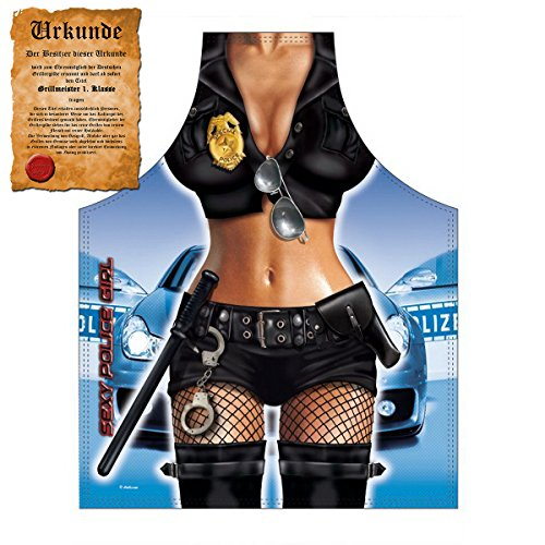 Mega Sexy Küchenschürze Kochschürze Grillschürze mit Gratis Urkunde - Police Girl - lustiger Scherzartikel Geschenkidee Geschenk (Kostüme Girl Hot Police)