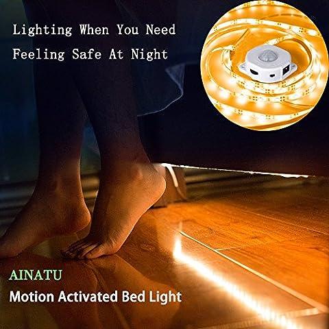 Mouvement activé Lit lumière - AINATU 14.3ft (bande LED 5ft + câble 3.3ft + cordon d