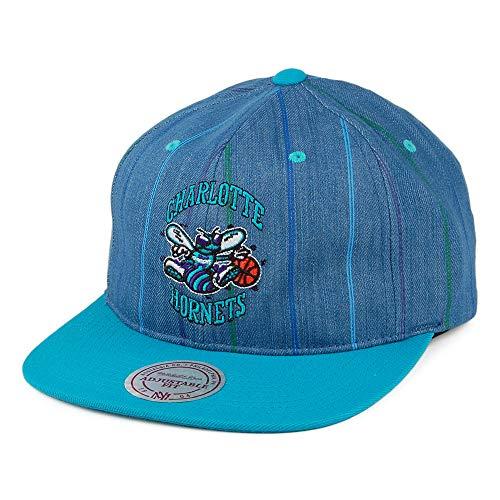 Mitchell & Ness Charlotte Hornets Snapback Cap - Denim Pinstripe - Petrol - Einstellbar