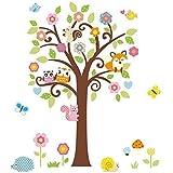 Grandora W5295 Wandtattoo Baum mit Eulen Fuchs Igel Schmetterlinge