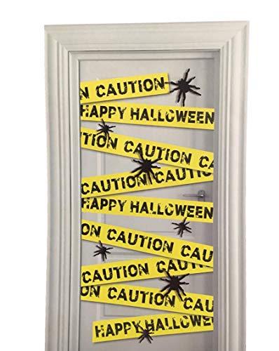 RPC PRC Halloween-Tür-Abdeckungen, Skeletts, Zombies, Hexe, Böse Clown, Geister & Kürbisse Happy Halloween Caution W/Spiders