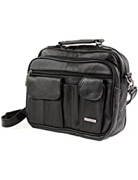 Ladies Mens Real Leather Travel Flight Shoulder Cross Body Organiser Handbag Bag (Black)