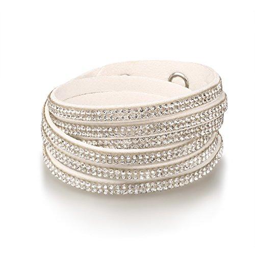 FANCYDELI Weihnachtsgeschenke Schmuck Damen Mode Wickelarmband Armband mit österreichischen Kristallen- Geschenk zum Valentinstag, Geburtstag für Frauen Freundin Party Modeschmuck Weiß MB0131