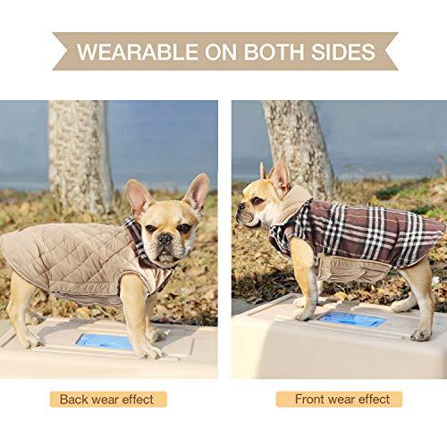 Haustier Hund Plaid Jacke Hoodie Mantel Pullover Schneefest Kleidung Herbst Winter Kleidung Warm Gepolsterte Wendeauflage Apparel Weste Kleidung Hunde mantel Brustschutz für Hunde (L,Braun) - 6