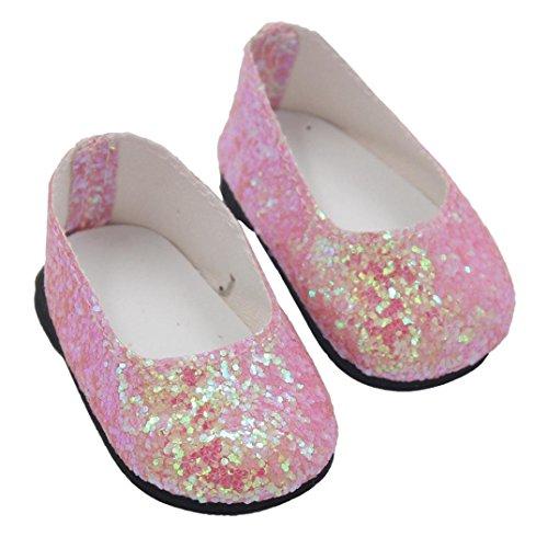 Prevently Shining glänzende Puppe Schuhe Kleid Schuhe 18-Zoll American Girl Doll Schuhe Puppe Schuhe (Rosa) 15-puppe Kleidung Für Die American Girl