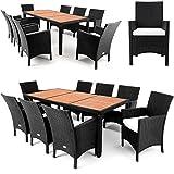 Polyrattan Sitzgruppe 8+1 Tischplatte aus Akazienholz Essgruppe Sitzgarnitur Gartenmöbel Gartenset Rattan