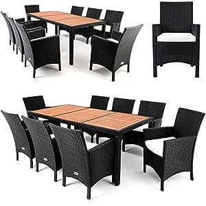 Salon de jardin 17 pcs ensemble table 8 chaises alu for Salon de jardin amazon