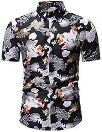 zarupeng Blusa Estampada Flor de la Moda del Hombre Tops Camisetas de Manga Larga Casual Tops