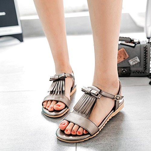 COOLCEPT Damen Mode T-Spangen Sandalen Flach Open Toe Slingback Schuhe Mit Bogen Grau