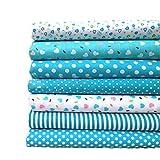 Baumwolle Stoff–7Stücke Baumwolle Stoff handgefertigt nähen Material Stoffe für Patchwork Vorhänge blau Patchwork Zubehör DIY 25x 25cm