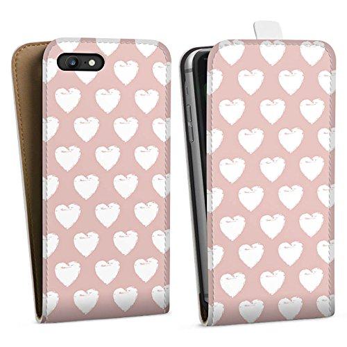 Apple iPhone X Silikon Hülle Case Schutzhülle Herzen Muster Liebe Downflip Tasche weiß
