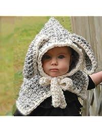 REIA Invierno Cálido Bebé Niños Sombrero de Ganchillo de Punto Gorras  Bufandas Conejo Lindo 23b59f8b1f1