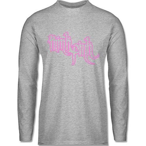 Shirtracer Statement Shirts - Think Pink - Herren Langarmshirt Grau Meliert