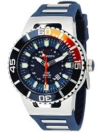 Torgoen T23303 - Reloj de caballero de cuarzo, correa de caucho color azul claro