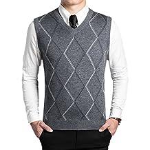 Dooxi Hombre Papá Otoño invierno Sin Mangas Cuello en V Chaleco De Suéter Color Sólido Negocio Punto Suéter Chalecos