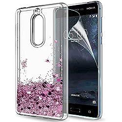 LeYi Coque Nokia 5 Liquide Paillette Etui avec Film de Protection écran HD, Fille Personnalisé Liquide Paillette Flottant Transparente 3D Silicone Gel TPU Antichoc kawaii Housse Pour Nokia 5 Rose Gold