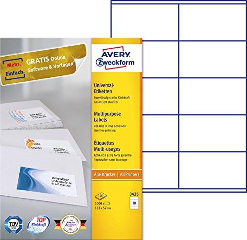 AVERY Zweckform 3425 Universal-Etiketten (A4, Papier matt, 1,000 Etiketten, 105 x 57 mm, 100 Blatt) weiß