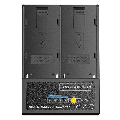 Neewer NP-F Batterie für V-Mount Batterie-Konverter Netzteil für LED-Licht, HD-Monitor, 5D-Anzug, Alternative Akku-Option für Sony V-Mount Gear, passend für Sony NP-F550, NP-F970 und NP-F975 Akku (D Akku-konverter)