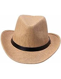 Susenstone Sombrero de vaquero de sombrero verano de paja para hombres  (Color café ... cac4061632c