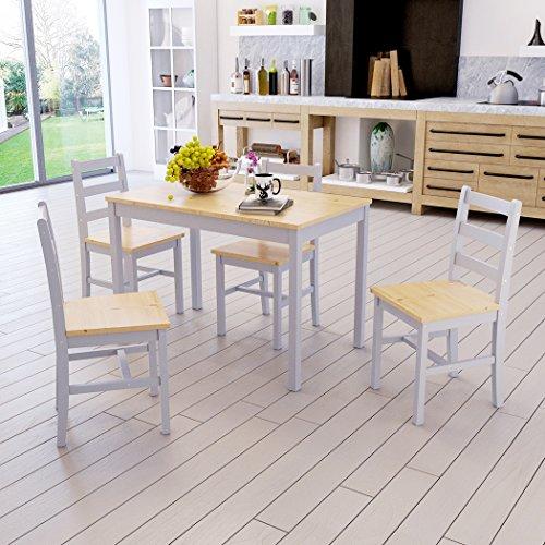 shougui trade Massivholz Esstisch und 4 Stühle ESS-Set, Moderne Esstisch und Stühle Set für Office Lounge Dining Kitchen, 1 Tisch + 4 Stühle (Grey Leg) (Moderne Ess-set Für 4)