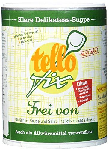 tellofix Klare Delikatess Suppe Frei von - milde Brühe ohne Geschmacksverstärker, ohne Farbstoffe und ohne Konservierungsmittel, vegan - 1 x 650 g