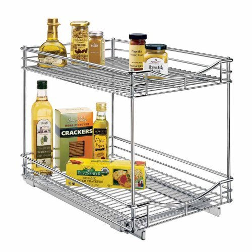 Lynk Professional Roll Out Double Shelf - Pull Out Two Tier Sliding Under Cabinet Organizer -  14 inch wide x 18 inch deep - Chrome