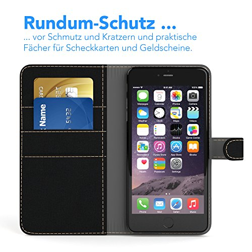 Apple iPhone 6S Plus / 6 Plus Tasche, EAZY CASE Book-Style Case Jeans, Premium Handyhülle mit Kartenfach, Schutzhülle Geldbeutel mit Standfunktion, Wallet Case in Hellgrau Schwarz - Denim