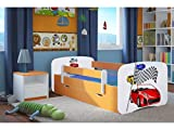 CARELLIA 'Kinderbett Ferrari 80cm x 160cm mit Barriere Sicherheitsschuhe + Lattenrost + Schubladen + Matratze Offert.–Orange