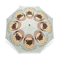 EnnE Puppy Dog Umbrella Rain Windproof Compact Foldable Travel Umbrella UV Protection