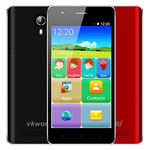 VKworld Senioren Handy Ohne Vertrag Günstig F1 3G Smartphone 4,5 Zoll IPS Android 5.1 Quad-Core 1.1GHz 1GB Ran + 8G ROM Dual-Sim 2.0MP+5.0MP Dual Kamera Smart Wake Lupe GPS FM-Radio OTA SOS (Rot)