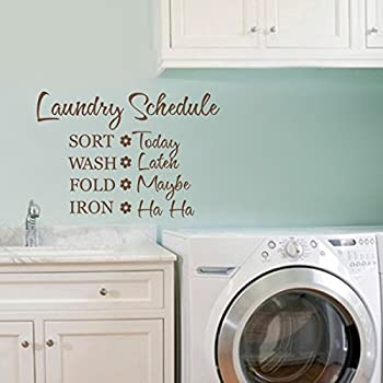 Vinyl Laundry Wall Decal Laundry Wall Quote Laundry Schedule Wall Sticker  Wall Saying Words Laundry Room Art Decor Black Part 36