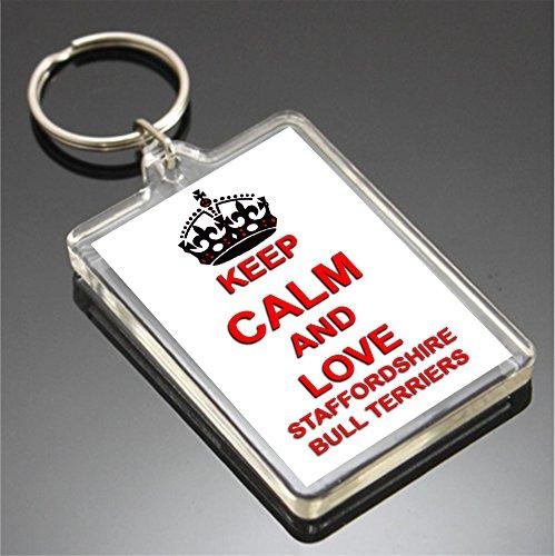 KEEP CALM AND LOVE STAFFORDSHIRE BULL TERRIERS SCHLÜSSELANHÄNGER SCHLÜSSELRING